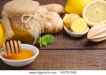 Ingredients for making ginger root tea, selective focus, copy space
