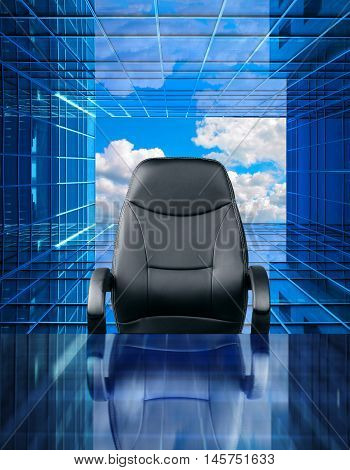 Empty executive chair in front of a perspective future window