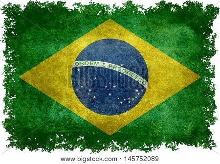 Brazilian national flag with distressed vintage textures and edges