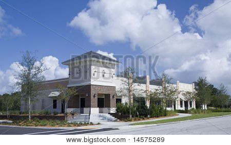 upscale pastel retail strip mall