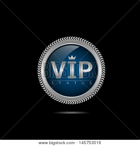 VIP silver label. Members only. Glamour emblem, royal badge