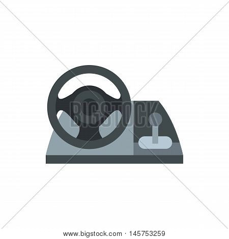 Gaming steering wheel icon in flat style isolated on white background. Play symbol vector illustration