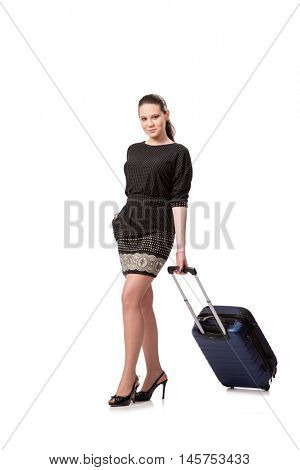 Young woman preparing for travel isolated on white