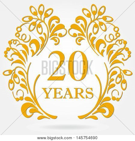 20 years anniversary icon in ornate frame with floral elements. Template for celebration and congratulation design. 20th anniversary golden label. Vector illustration.