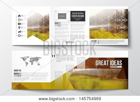 Vector set of tri-fold brochures, square design templates with element of world map. Colorful polygonal backdrop, blurred natural background, modern stylish triangle vector texture.