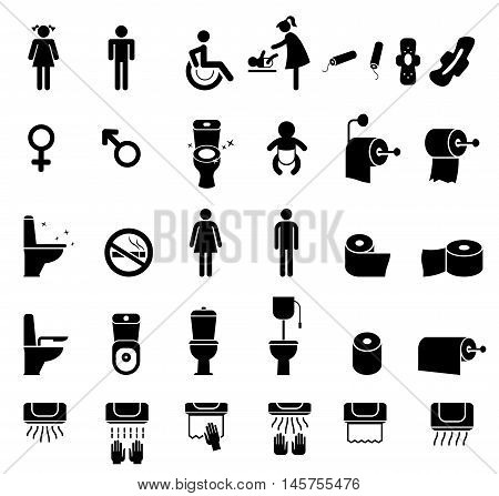 People icon set. Vector black toilet icons set on white background.