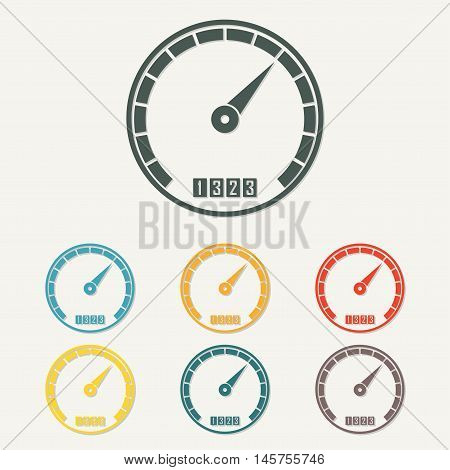 Speedometer icon with arrow. Infographic gauge element. Template for download design. Colorful vector illustration in flat style.