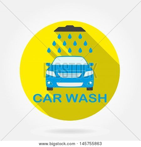 Car wash icon or label with auto shower and water drops.  Washing vehicle symbol in flat design with long shadow. Colorful vector illustration.