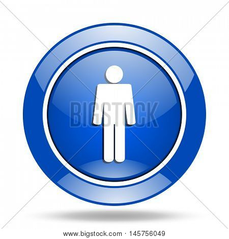 Blue glossy round web male gender vector icon