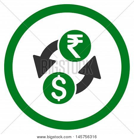 Dollar Rupee Exchange rounded icon. Vector illustration style is flat iconic bicolor symbol, green and gray colors, white background.