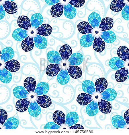 Repeating white floral pattern with blue vintage flowers and translucent curls vector eps10