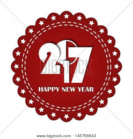 Embroidered Red Round Ribbon Stamp Isolated On White. New Year 2017 Concept. Can Be Used For Banner,
