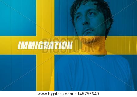 Swedish immigration concept with man looking for salvation in Sweden