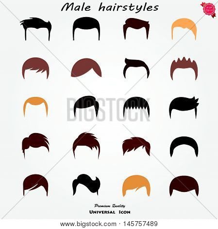 Set different man hairs styling . beauty fashion styles .  Vector illustration . detailed hand graphics .  cut mask wigs collection . male hairstyles isolated .