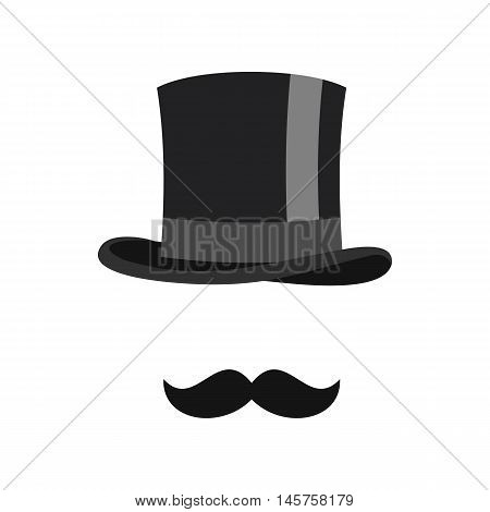 Cylinder and moustaches icon in flat style isolated on white background. Headgear symbol vector illustration
