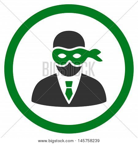 Masked Thief rounded icon. Vector illustration style is flat iconic bicolor symbol, green and gray colors, white background.
