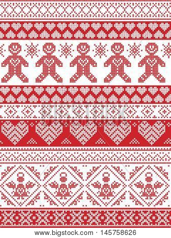 Scandinavian Printed Textile  inspired festive winter seamless pattern in cross stitch with Gingerbread man,  snowflake, decoration elements, angel, hearts and decorative ornaments in red and white