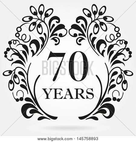 70 years anniversary icon in ornate frame with floral elements. Template for celebration and congratulation design. 70th anniversary label. Vector illustration.