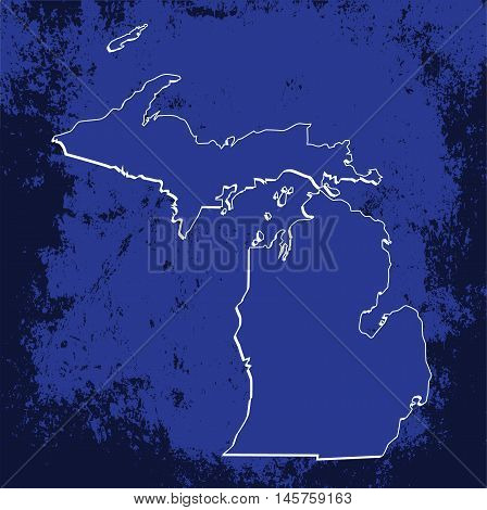 3D Michigan (USA) Grunge Blueprint Boundary map with shadow