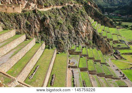 Terraces Of Pumatallis At The Inca Fortress In Ollantaytambo, Peru