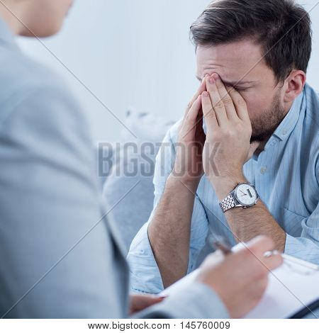 Man Crying During Psychotherapy