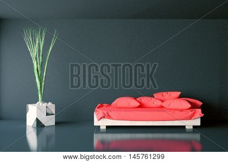 Interior With Sofa And Plant