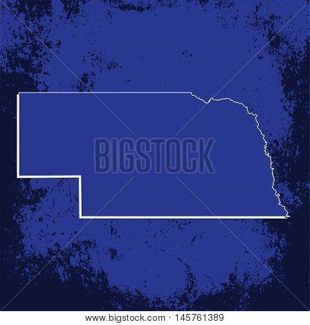 3D Nebraska (USA) Grunge Blueprint map with shadow