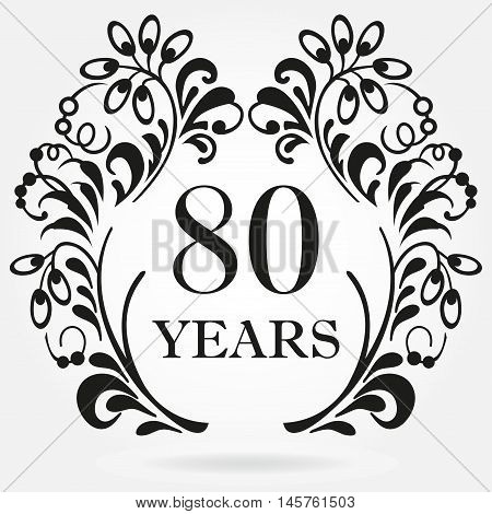 80 years anniversary icon in ornate frame with floral elements. Template for celebration and congratulation design. 80th anniversary label. Vector illustration.