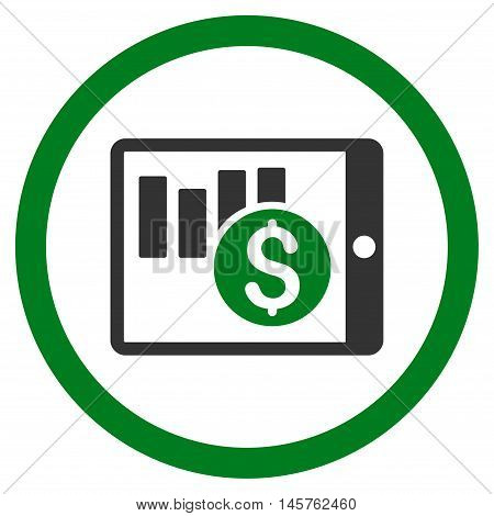 Sales Chart on Pda rounded icon. Vector illustration style is flat iconic bicolor symbol, green and gray colors, white background.