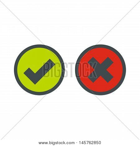 Tick and cross selection icon in flat style isolated on white background. Click and choice symbol vector illustration