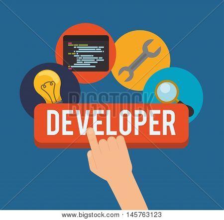 bulb wrench lupe developer web responsive development website programming icon set. Colorful design. Vector illustration