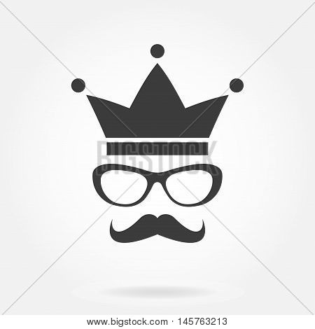 Hipster style icon: glasses with mustache and crown. Vintage design. Vector illustration.