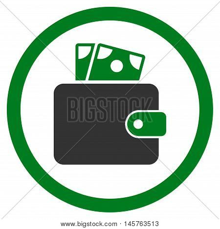 Wallet rounded icon. Vector illustration style is flat iconic bicolor symbol, green and gray colors, white background.