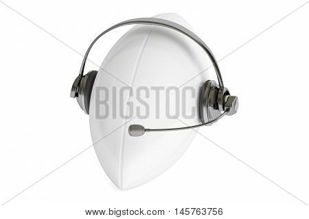 rugby ball with headset or headphones 3D rendering