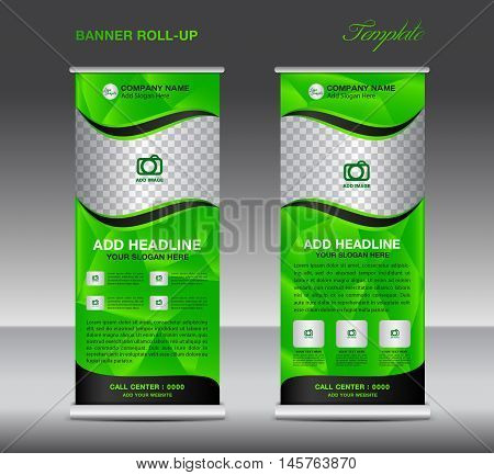 Green Roll up banner template vector, roll up stand, banner design, flyer, advertisement, polygon background, poster
