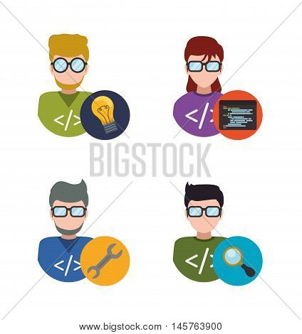 man woman girl boy glasses tools wrench lupe bulb developer web responsive development website programming icon set. Colorful design. Vector illustration