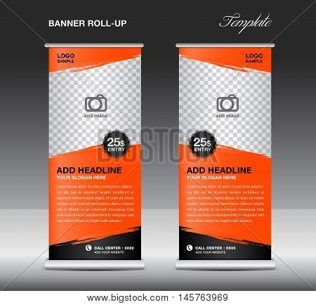 Orange Roll up banner template vector, roll up stand, banner design, flyer, advertisement, polygon background, corporate roll up template