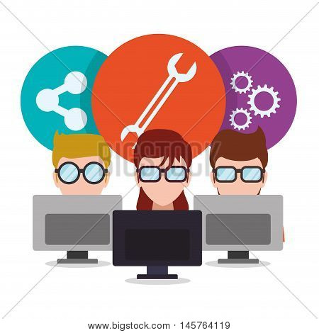 man woman girl boy glasses computers tools wrench gear developer web responsive development website programming icon set. Colorful design. Vector illustration
