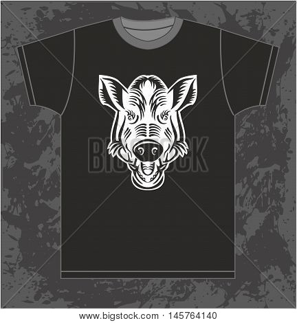 Vector isolated pattern T-shirt with the image of the silhouette of the wild boar