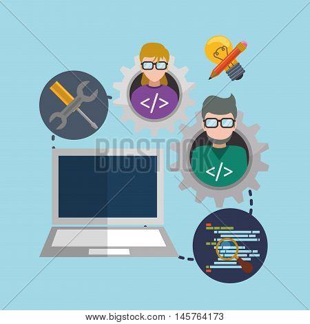 man woman girl boy glasses laptops tools bulb pencil lupe gear developer web responsive development website programming icon set. Colorful design. Vector illustration