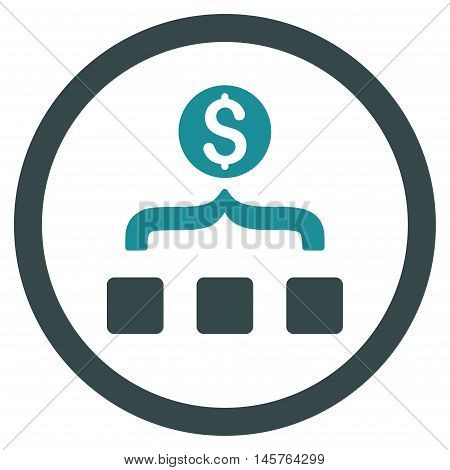 Money Aggregator rounded icon. Vector illustration style is flat iconic bicolor symbol, soft blue colors, white background.