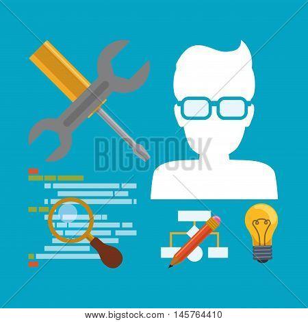 man boy glasses tools lupe bulb pencil developer web responsive development website programming icon set. Colorful design. Vector illustration