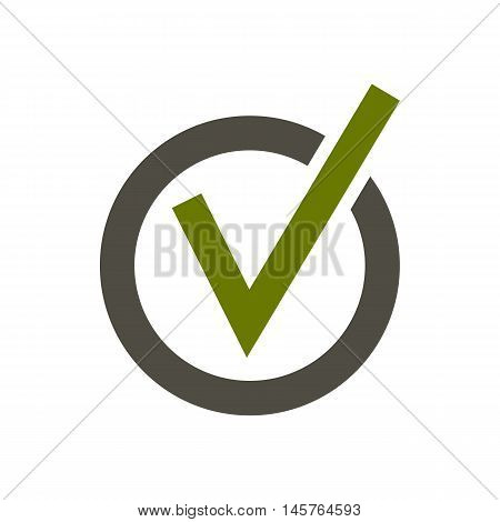 Checkmark in circle icon in flat style isolated on white background. Click and choice symbol vector illustration