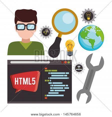 man boy glasses tools lupe bulb planet developer web responsive development website programming icon set. Colorful design. Vector illustration