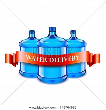 Big bottles and red ribbon water delivery concept vector background