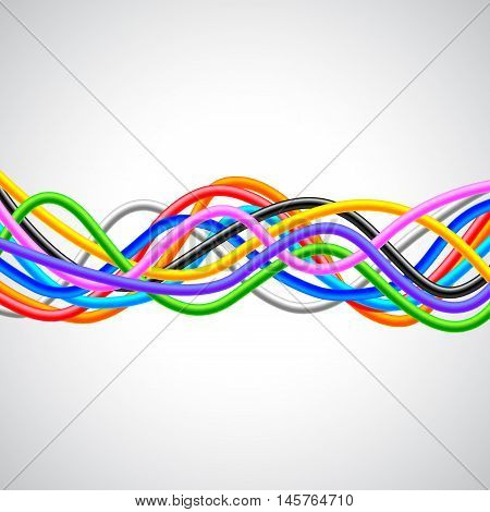 Many colorful cables horizontal wave on white background vector