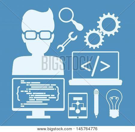 man boy glasses tools lupe bulb computer laptop developer web responsive development website programming icon set. Blue design. Vector illustration