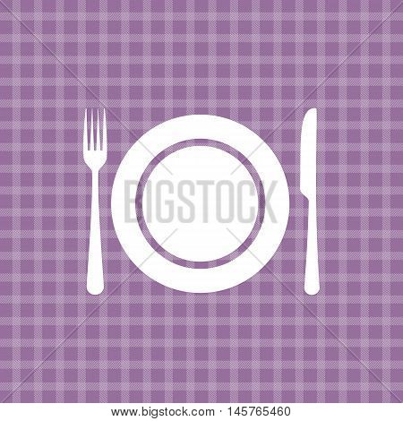 Plate knife and fork on lilac picnic checkered tablecloth