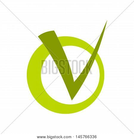 Choice tick in circle icon in flat style isolated on white background. Click and choice symbol vector illustration