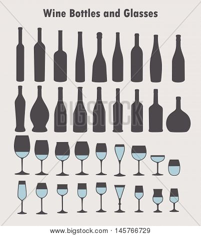 Set of vector wine glass and bottles silhouettes